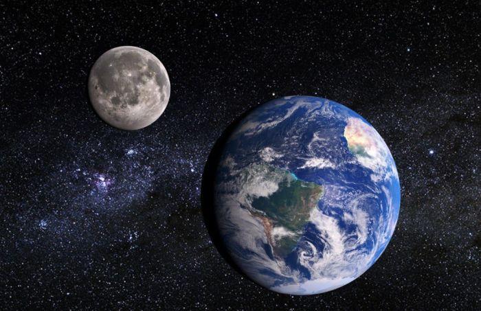луна и земля из космоса